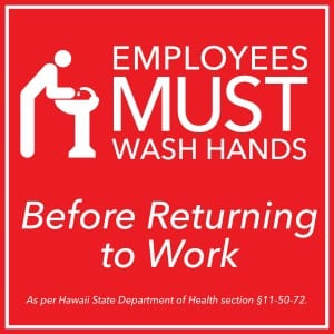 Hawaii handwashing sign