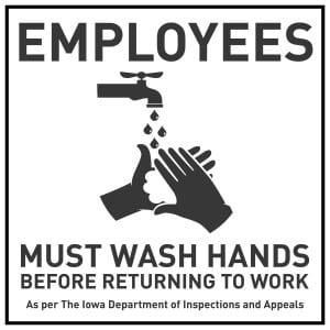Iowa handwashing sign