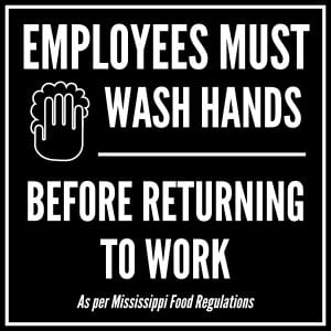 Mississippi handwashing sign