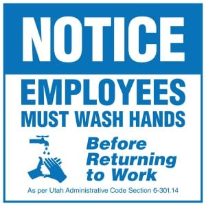 Utah handwashing sign