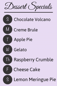 Aframe dessert special menu sign