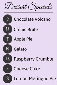 Aframe dessert special menu sign