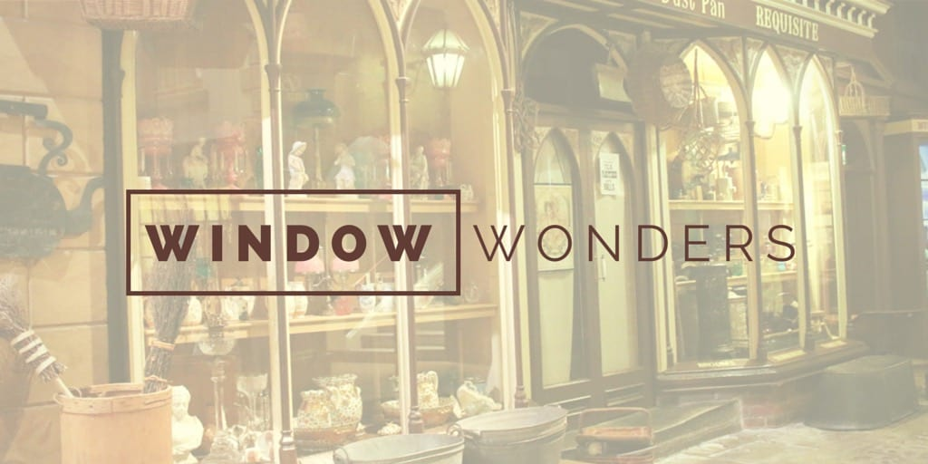 "Retail store front with text ""Window Wonders"""