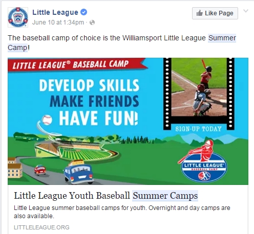 Little League Facebook Ad