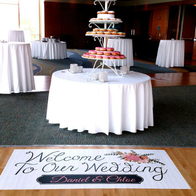 Our floor decals are perfect for welcoming your wedding guests.