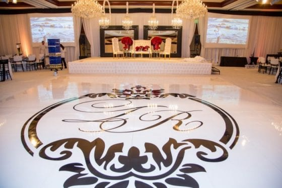 Create dance floor monograms like the one above with our versatile floor decal material and free design services. Image courtesy of exquisevents.com