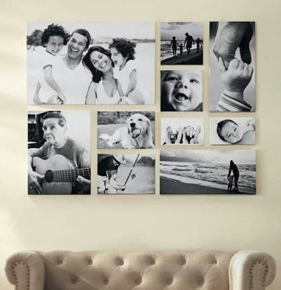 family gallery wall over couch