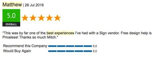 Customer Review of Signs.com