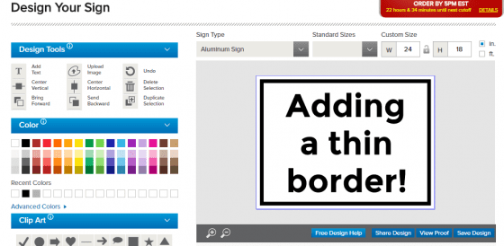 design tool thin border