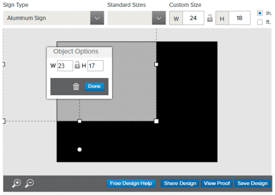 size change in design tool
