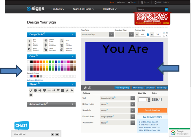 Changing background color of your sign