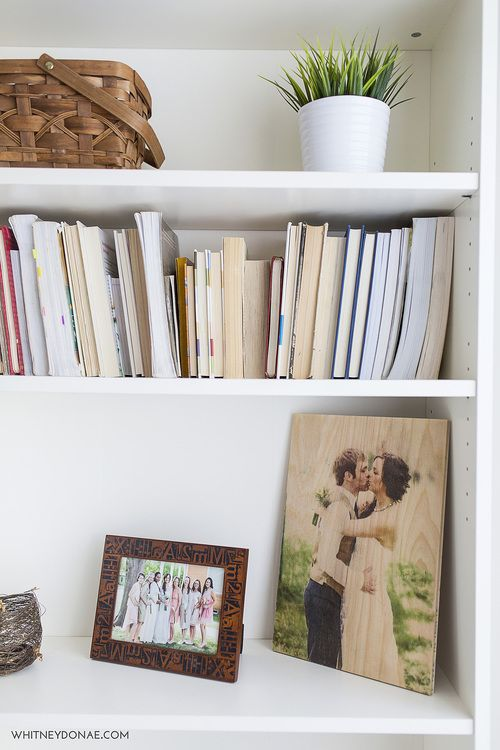 wood photo print bookshelf