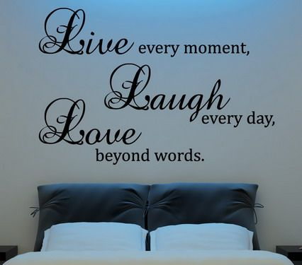 wall quote above bed