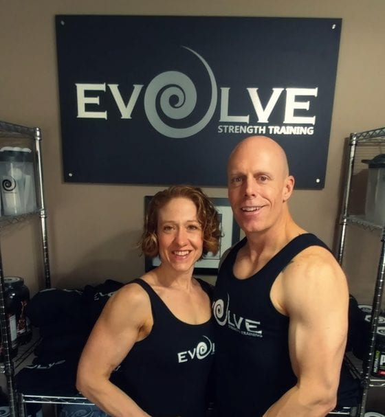 Evolve Strength Training Owners and Sign