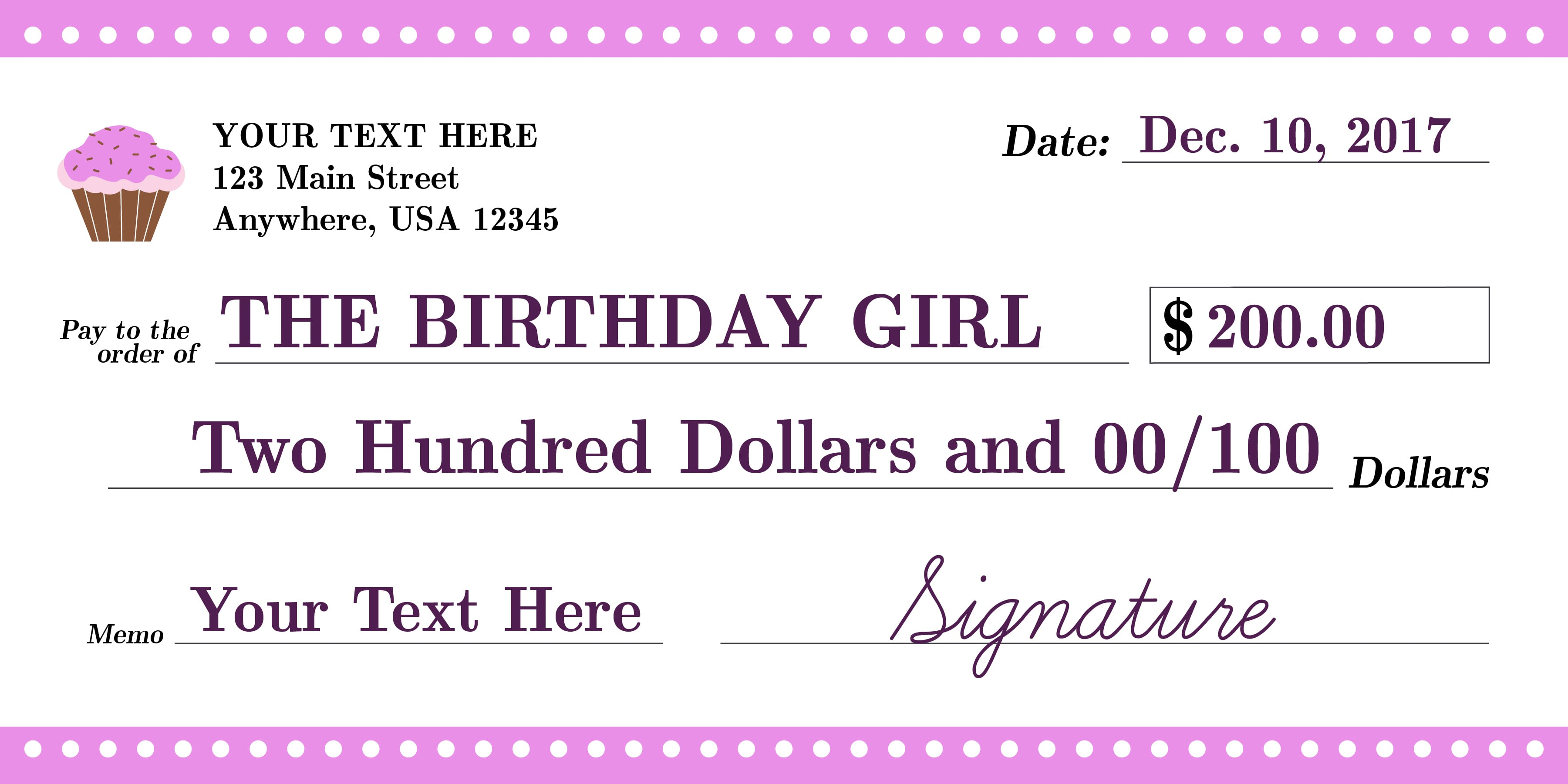 Giant Check Birthday Girl
