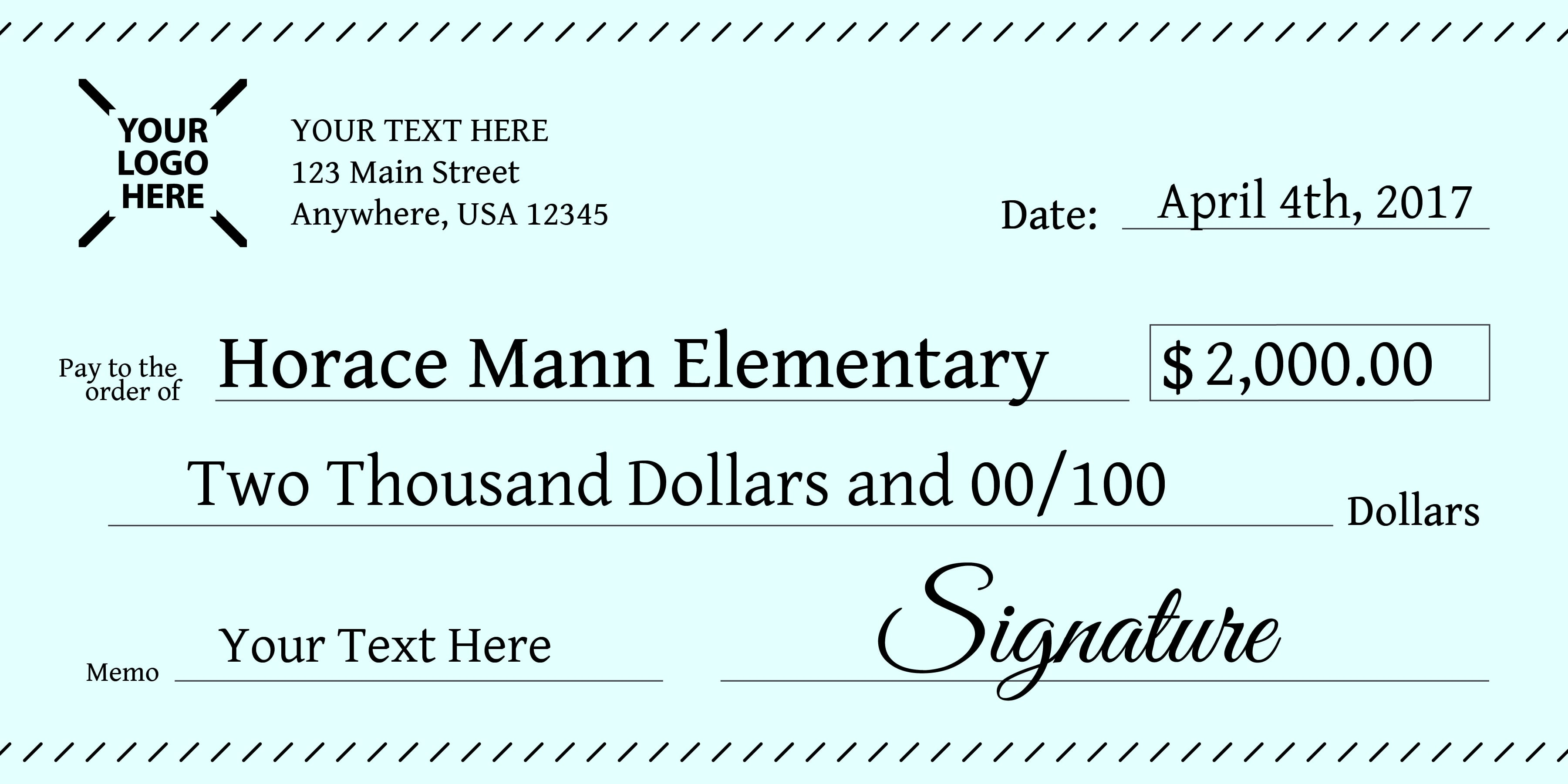 giant Check School Donation