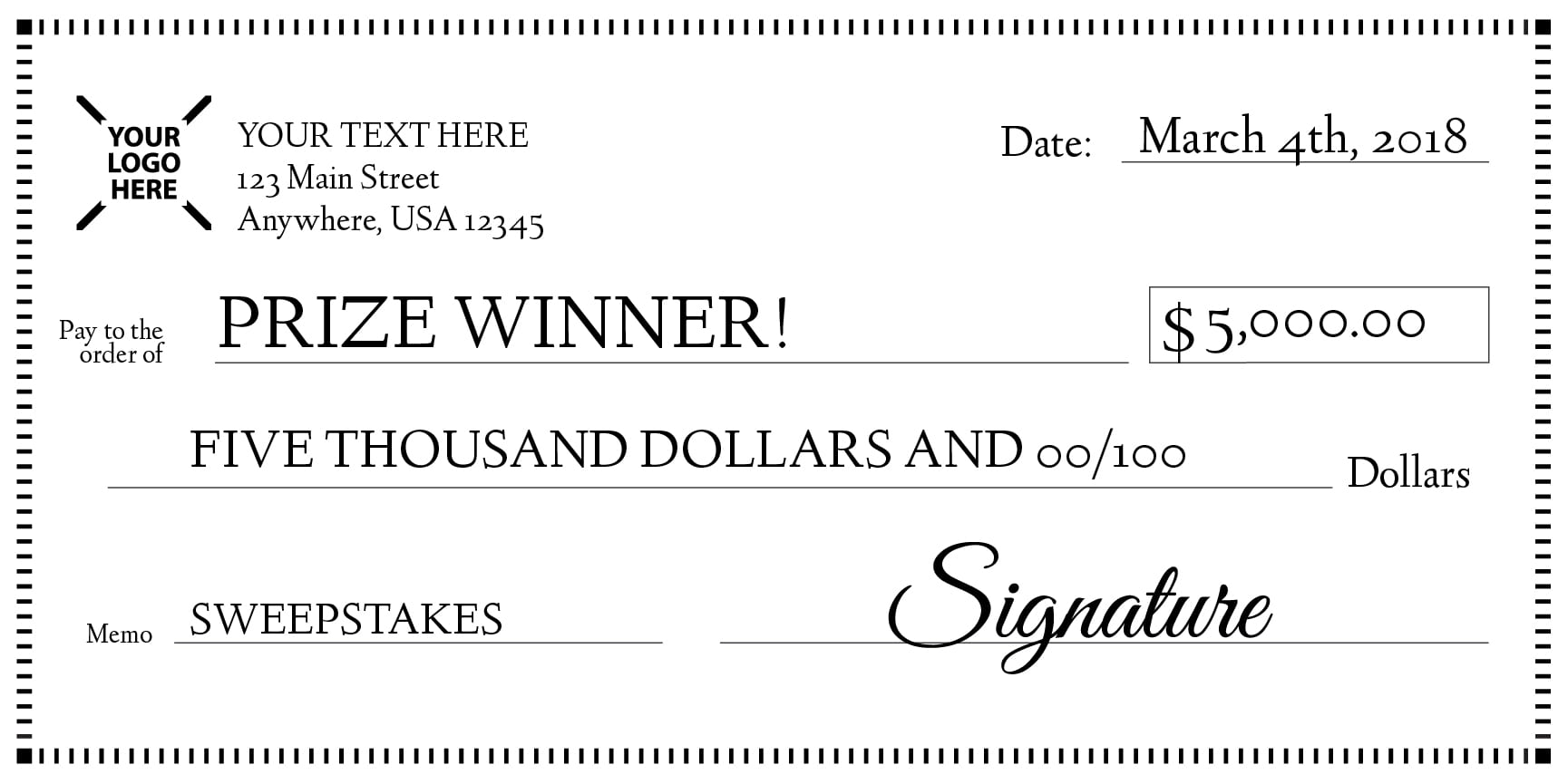 Giant Check Sweepstakes