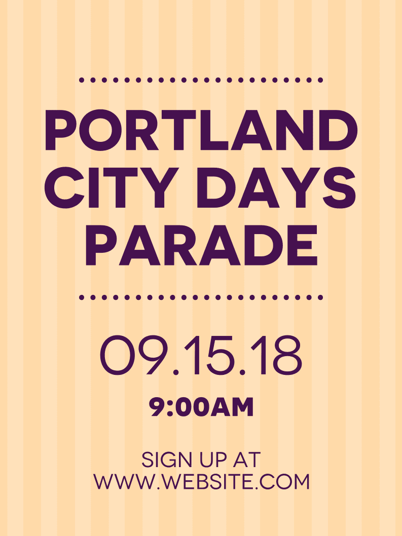 Temporary City Parade Sign