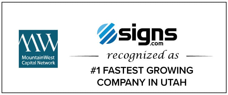 Signs.com Recognized as #1 Fastest Growing Company in Utah