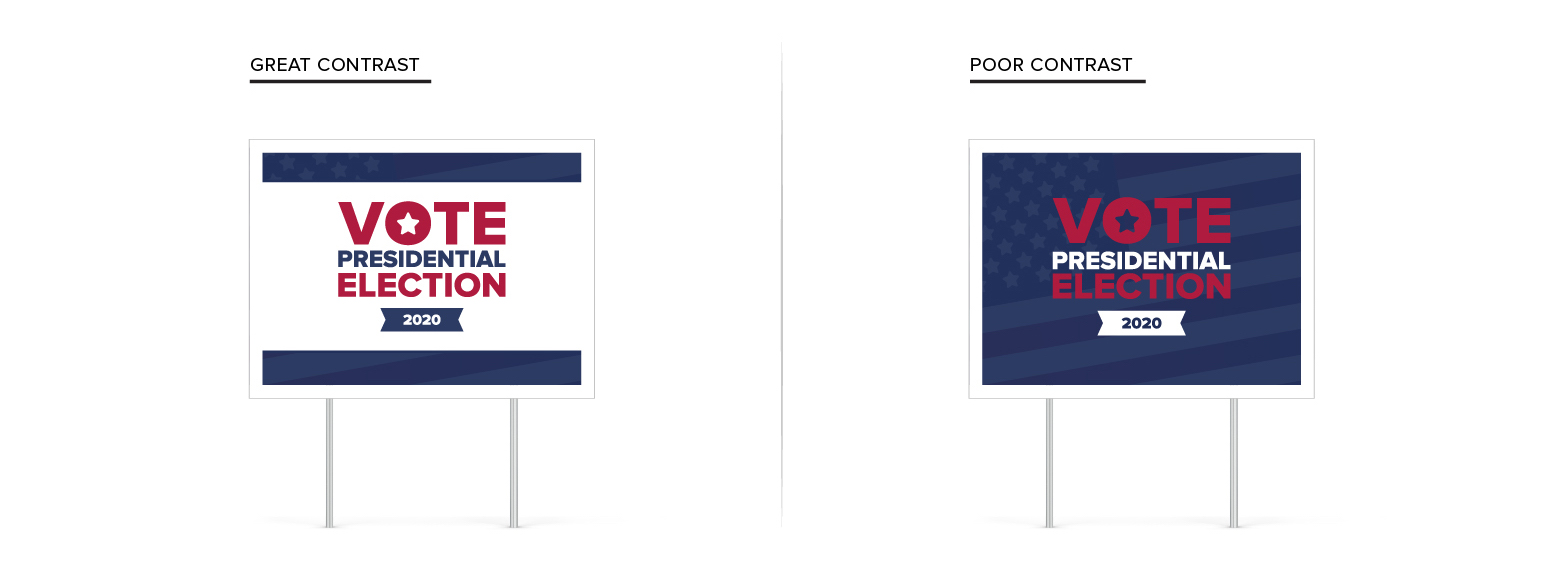 Campaign signs side-by-side showing the comparison of good and bad color contrast
