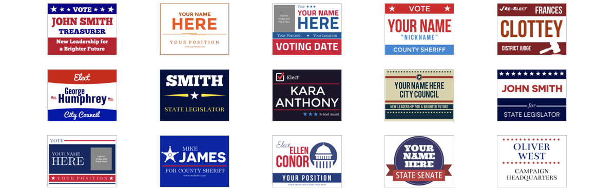 Examples of political campaign sign templates at Signs.com