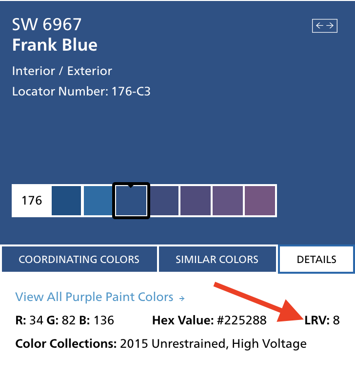Image showing where to find light reflectance value from sherwin-williams.com