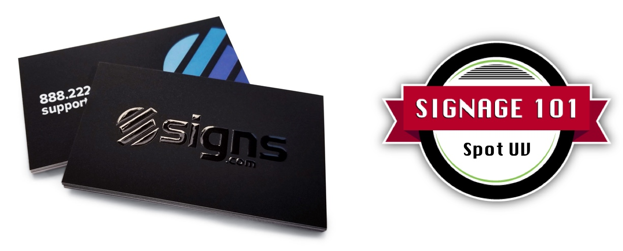 Business cards with Spot UV and signage 101 logo