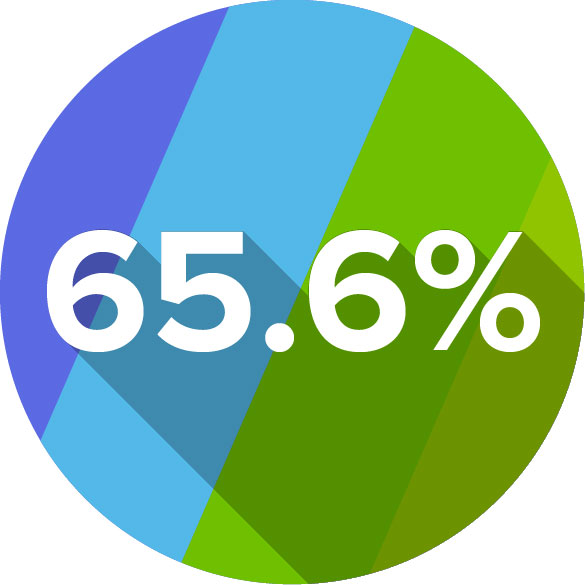 Circle graphic showing 65.6%