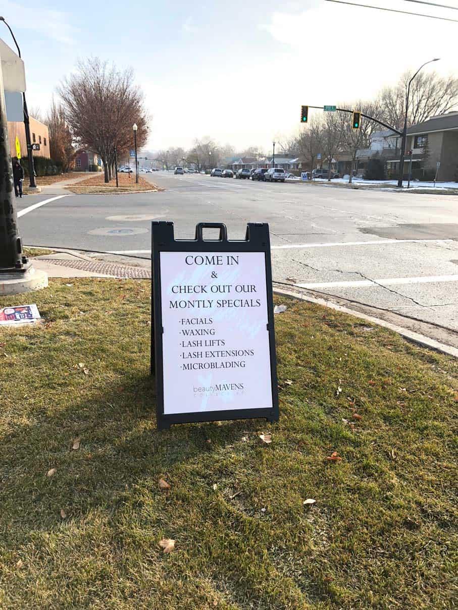 A-frame sign on street corner