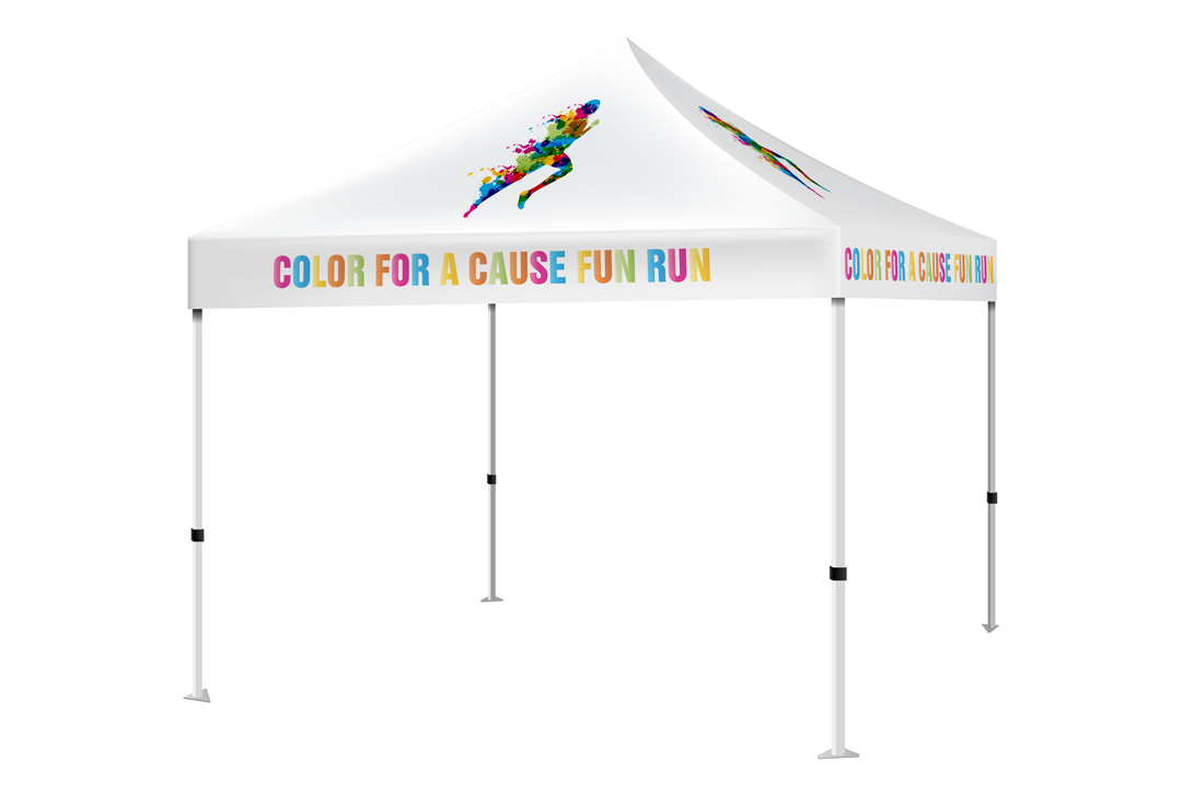 Pop up tent that has a branded canopy