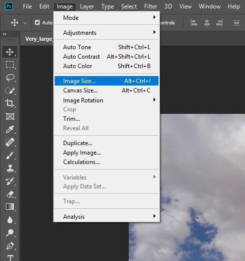 Finding Image Dimensions Using Photoshop (Step 3)