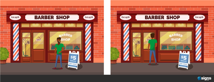 Illustration showing a man noticing an A-frame sign and then walking into a store