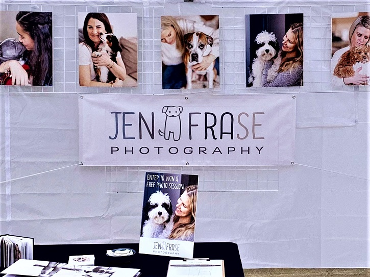 Jen Frase's art fair booth banner and display