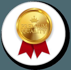 Medal that says premium quality