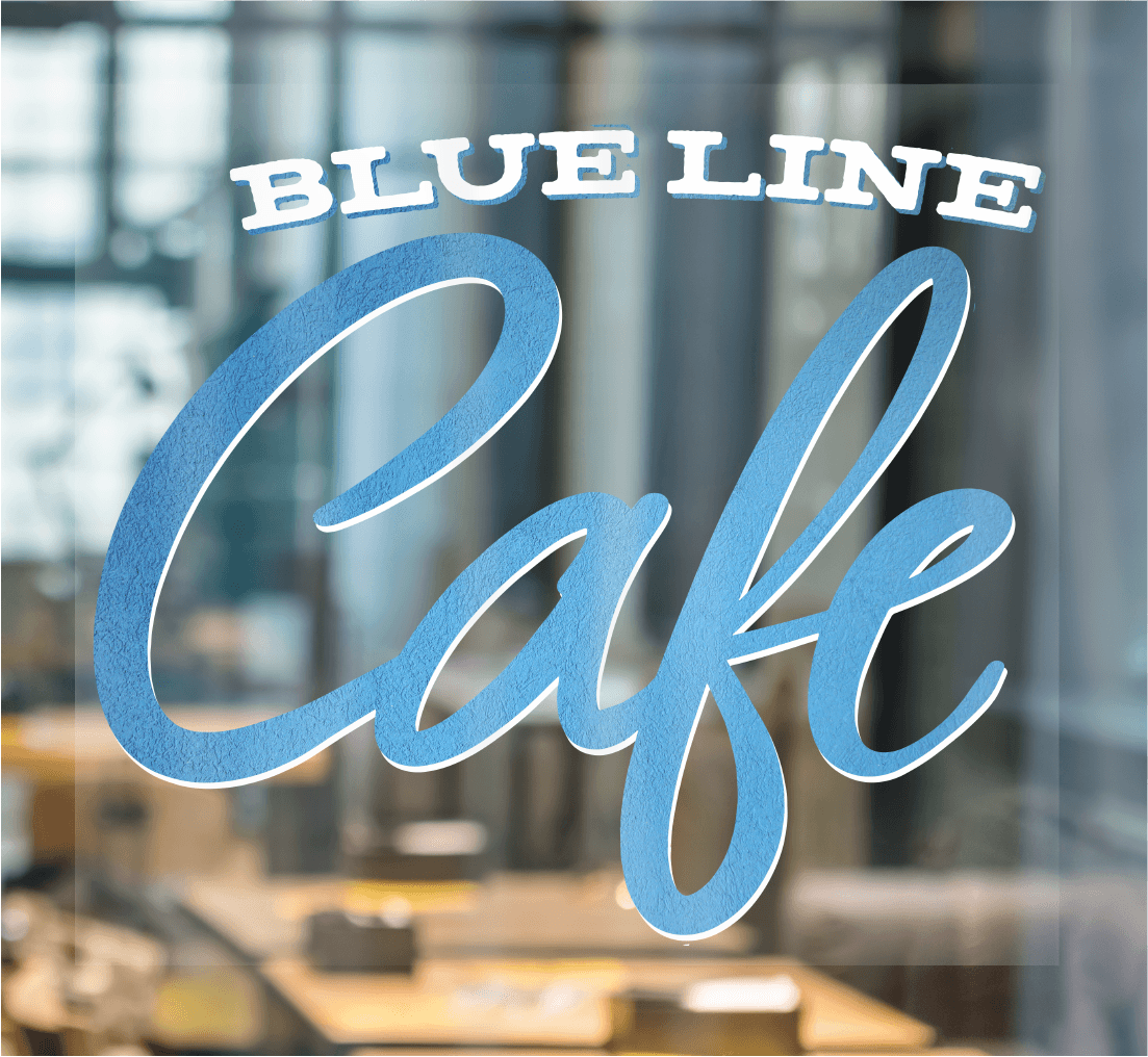 Blueline Cafe logo on a clear window cling on a window