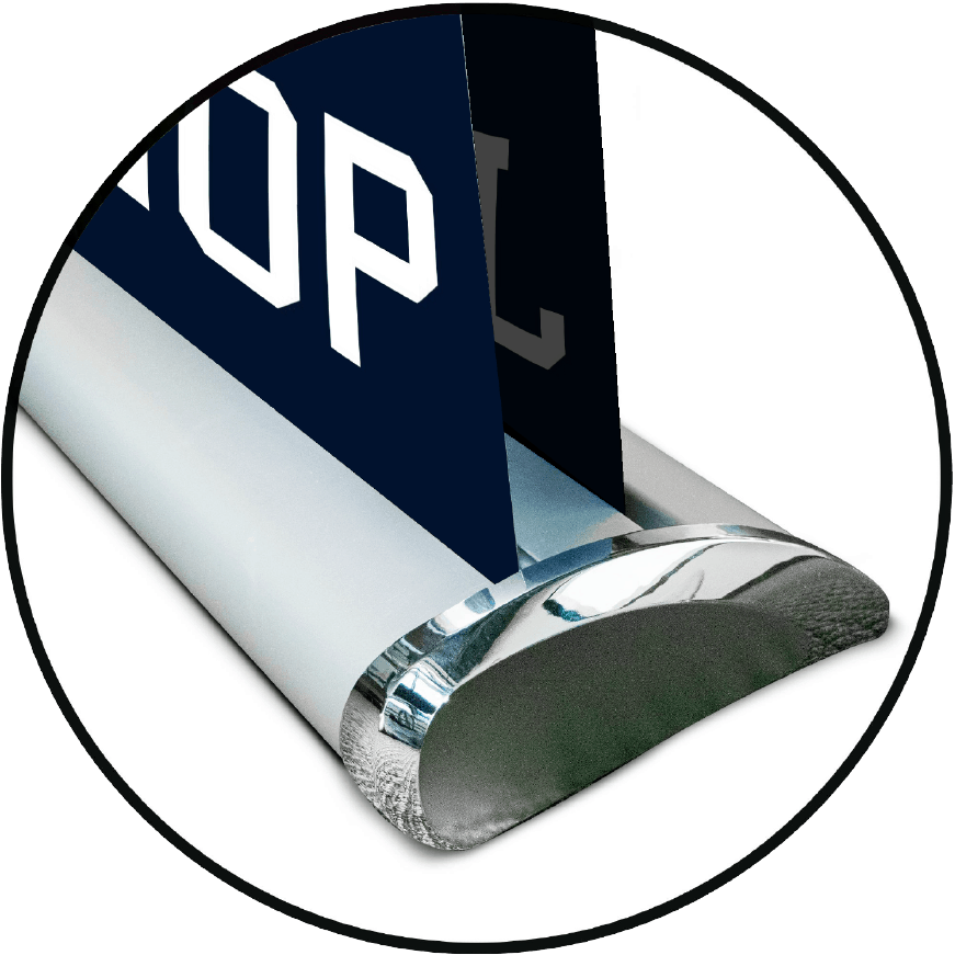 circle magnified view of deluxe retractable banner base