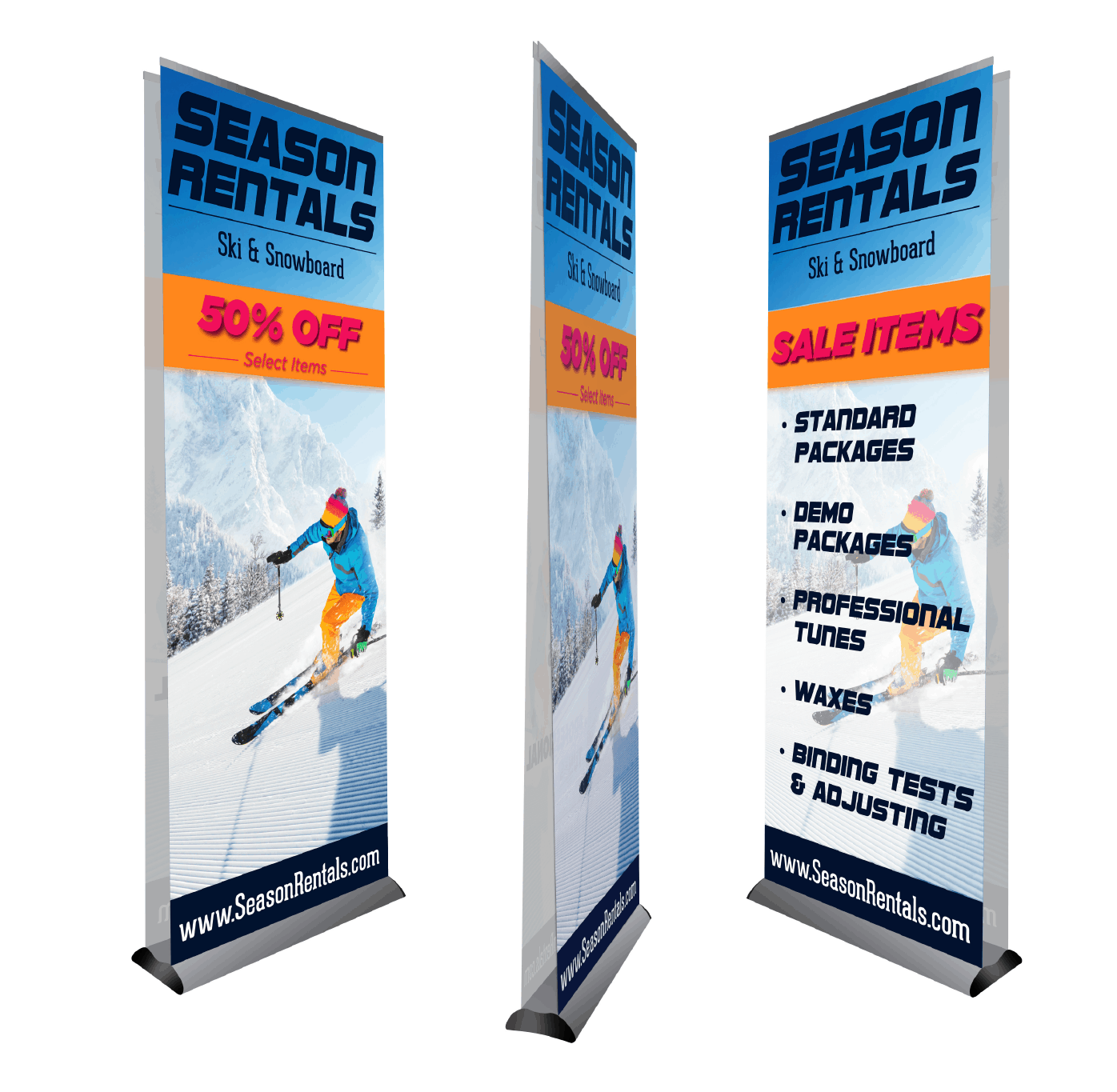 deluxe retractable banner showing front, side, and back view for double sided retractable banners
