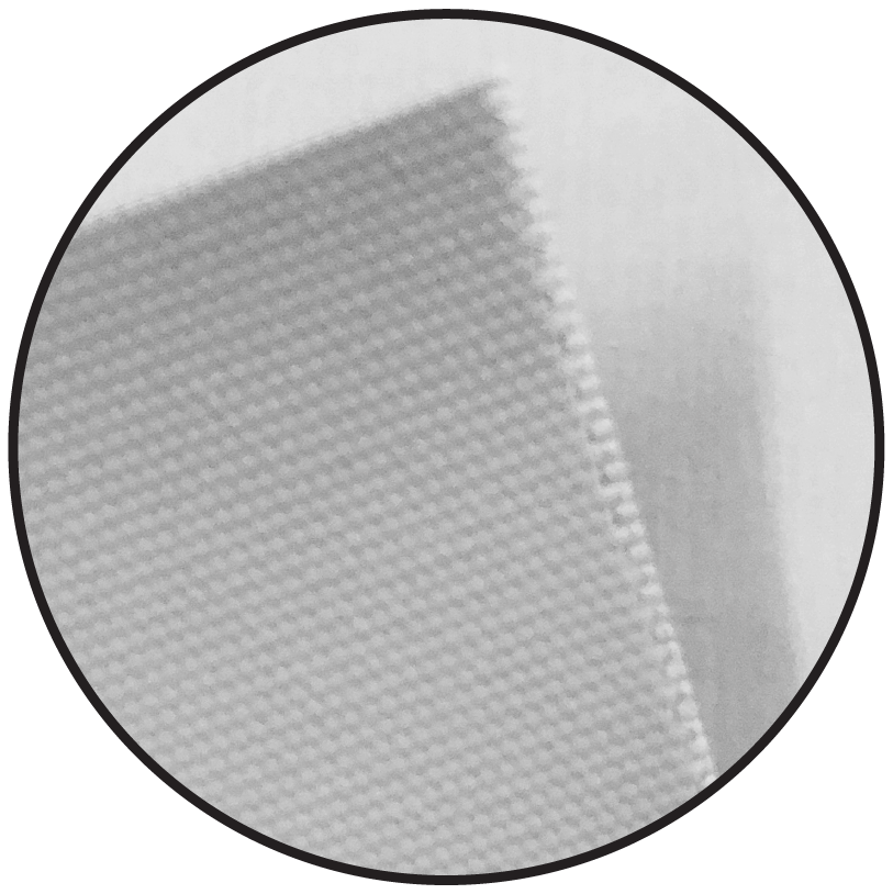 circle magnified view of fabric material for retractable banners