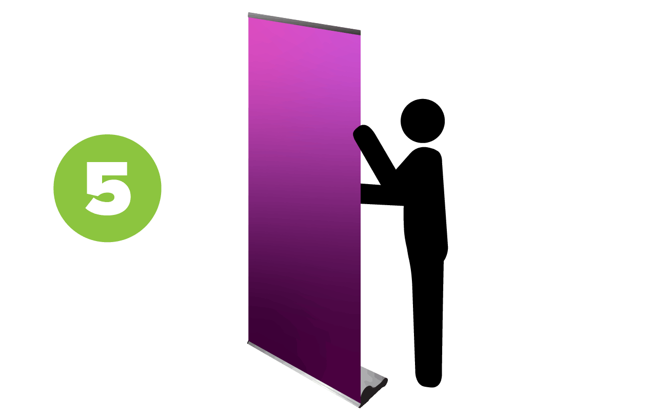 step 5-person standing by fully extended retractable banner