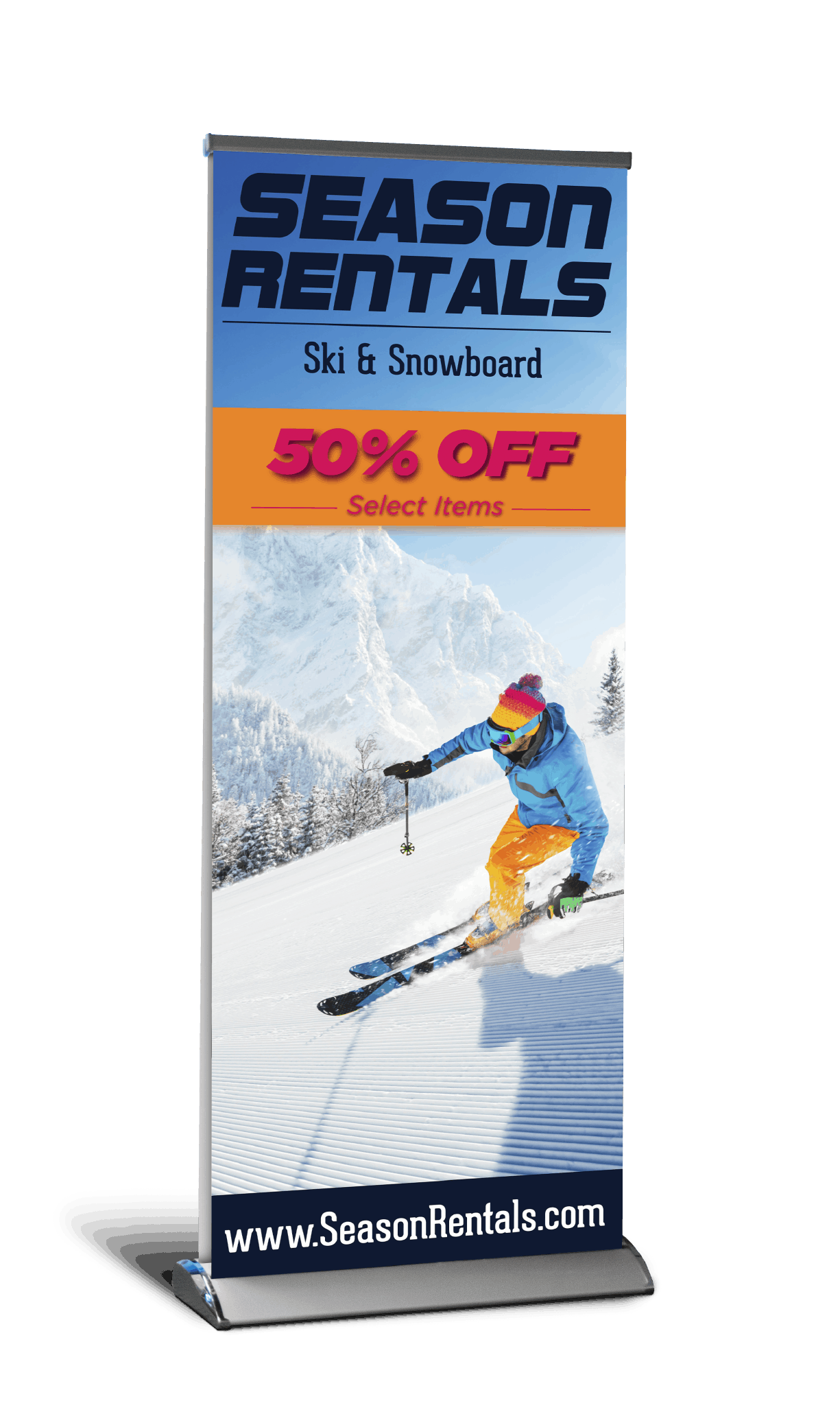Deluxe retractable banner with image of person skiing down groomed mountain slope printed on material