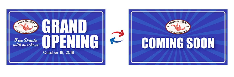 Grand opening to coming soon banner